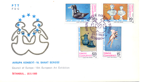 1983 Council of europe 18th european art exhibition FDC