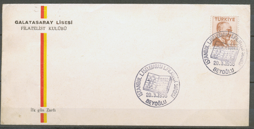 1958 İstanbul philatelic exhibition with the galatasaray high scholl envelope