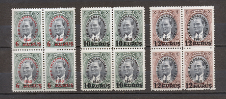 1940 Surcharged commemorative stamps for the izmir international fair B