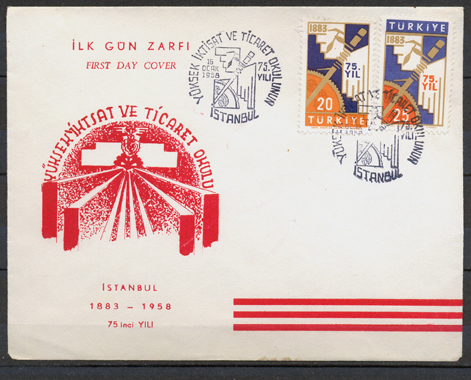 1958 The 75th anniversary of the economics and commerce collage in istanbul FDC