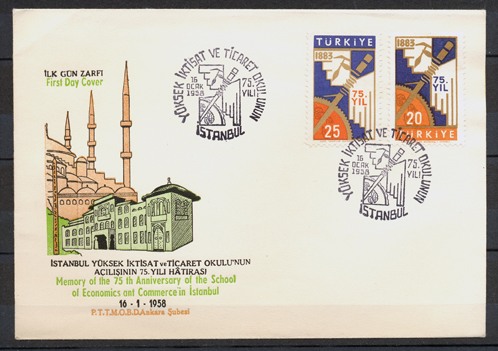 1958 The 75th anniversary of the economics and commerce collage in istanbul FDC 1