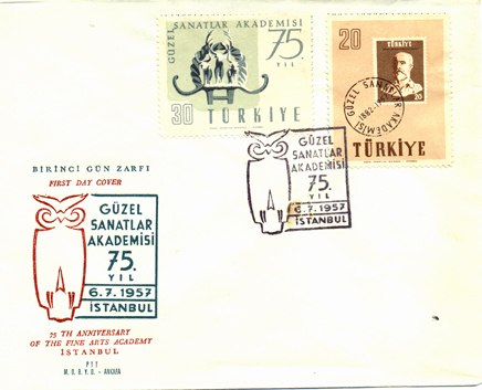 1957 The 75th anniversary of the fine arts academy FDC