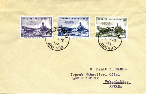 1946 Visit of uss missouri to istanbul FDC